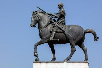 Equestrian statue of the Venetian general Gattamelata (Erasmo da Narni) in Padua, Italy. Cast in 1453 by Donatello, was the first full-size equestrian bronze cast since antiquity.