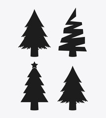 Pine trees icon set. Merry Christmas design. vector graphic