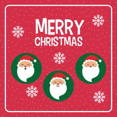 Kawaii santa  icon. Merry Christmas design. vector graphic
