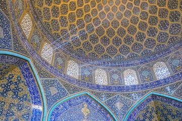 Sheikh Lotfollah Mosque at Naqhsh-e Jahan Square in Isfahan, Iran. Ceiling view.
