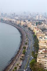 Aerial view of Marine Drive in Mumbai, India.
