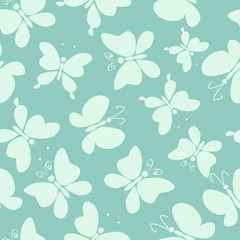 Butterfly fly high, Seamless pattern with silhouettes of cartoon butterflies