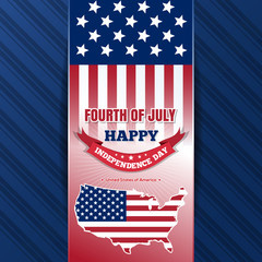 Independence Day background with US flag and greeting inscription. Fourth of July. Independence Day design. Map of the USA and and US flag on elegant blue background. Vector illustration