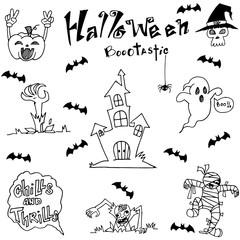 Element Halloween Castle bat and ghost dooodle flat