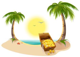 Pirate Treasure Chest on tropical island