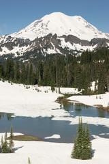 Wall Mural - Tipsoo Lake Naches Peak Loop Mt Rainier Cascade Mountain Range