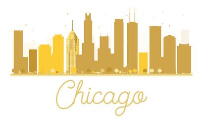 Chicago City skyline golden silhouette.