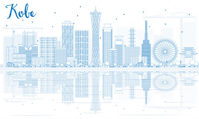 Outline Kobe Skyline with Blue Buildings and Reflections.
