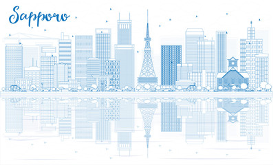 Outline Sapporo Skyline with Blue Buildings and Reflections.