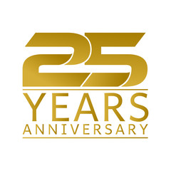 Simple Gold Anniversary Logo Vector Year 25