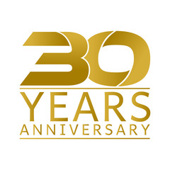 Simple Gold Anniversary Logo Vector Year 30