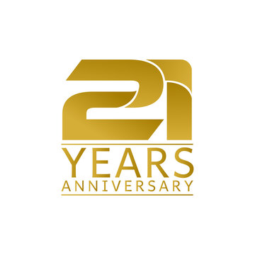 Simple Gold Anniversary Logo Vector Year 21
