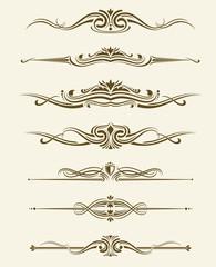 Retro flourishes page dividers, decorative ornament borders. Vector calligraphic elements. Divider calligraphic element and illustration set of retro classic divider