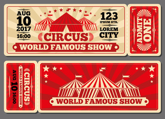 Circus magic show entrance vector tickets templates. Ticket for entrance to circus and illustration template ticket to event
