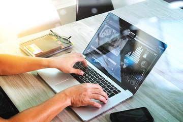 website designer hand attending video conference with laptop com