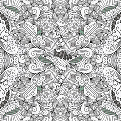 Ornamental leafy wave shapes as gray and white seamless background pattern with elegant leafy flowers and waves