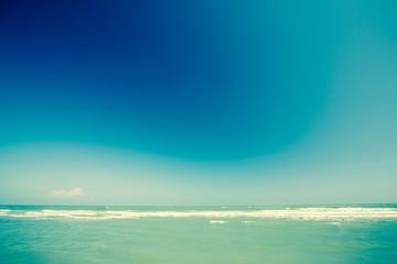 Sea and blue sky. Retro filter