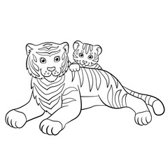 Coloring pages. Wild animals. Mother tiger with her little cute baby tiger.