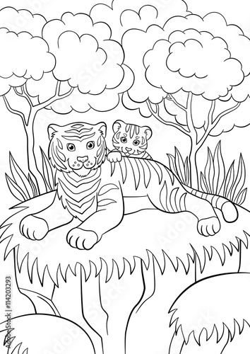 "Aninimal Book: ""Coloring pages. Wild animals. Smiling mother tiger with ..."