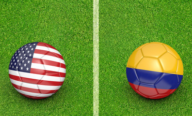 Team balls for United States vs Colombia football tournament match, 3D rendering