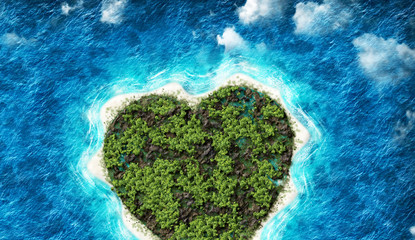 The island in the shape of a heart with  bird's eye view