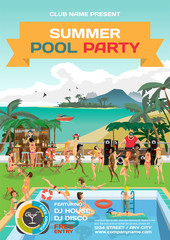Vector summer pool party invitation beach style. Day beach, swim