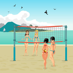 Four girls playing volleyball on the beach. Beach volleyball, ne