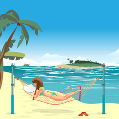 Woman dressed in green swimsuit lying in a hammock, stretched on