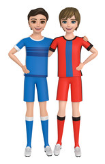 3D illustration character - Two boys in a uniform get along well.