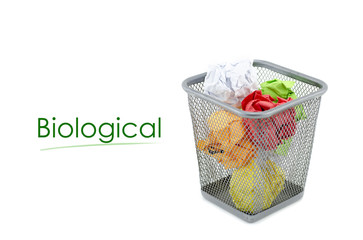 """conceptual image with word """" BIOLOGICAL"""" over crumple paper in metal dustbin and isolated white background"""