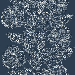 Elegance seamless pattern with ethnic flowers. Vector Floral Illustration in vintage style
