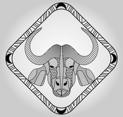Buffalo head, symmetric hatched drawing in diamond frame, isolated picture, emblem, tattoo template