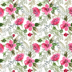 Watercolor Seamless Pattern with Contoured Elements on White Background