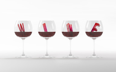 Wine glasses with crystal font 3D rendering 3D illustration