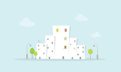 Cartoon City Landscape. Flat image