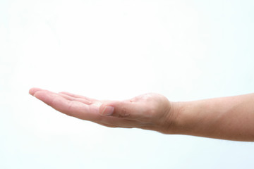 Open palm hand gesture of male hand. Isolated on a white background