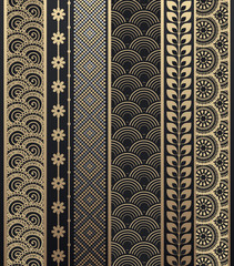 Set of abstract golden pattern stripes.