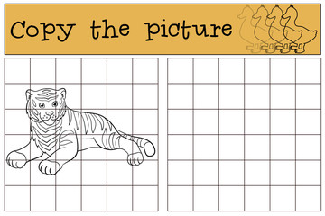 Children games: Copy the picture. Cute tiger smiles.
