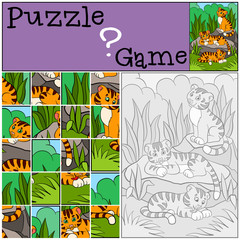 Education games for kids. Puzzle. Little cute tigers.