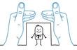 Big hands and cartoon businessman - framing