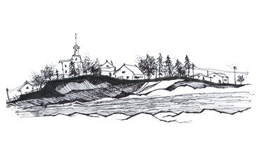 Graphic drawing, sketch, rural landscape, landscape, village, mountains, trees. Black liner isolated on white background