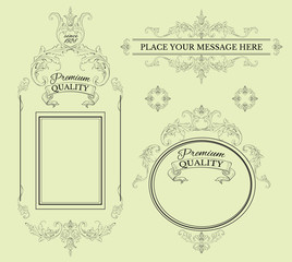 Calligraphic Design Page Decoration Elements And FramesVintage Premium Quality Label Collection Best For