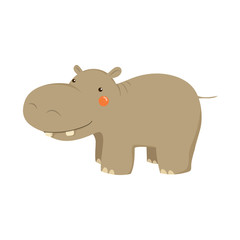 Hippopotamus Realistic Childish Illustration