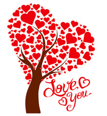 Illustration tree with hearts and text Love You