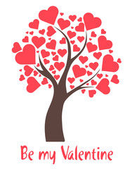 Illustration tree with hearts and text Be my Valentine
