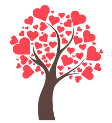 Illustration tree with hearts