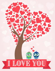 Illustration tree with hearts and birds