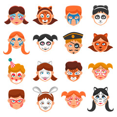 Painted Faces Icons Set