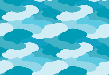 Camouflage fabric blue color military style seamless print pattern vector illustration