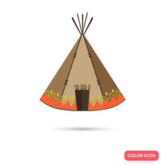 Indians wigwam color flat icon